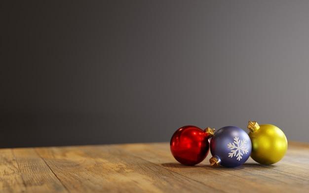 Rendu 3d, boules d'ornements de noël sur une table en bois