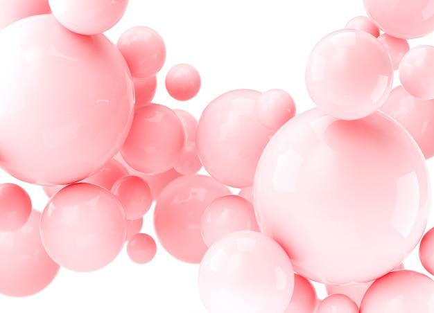 Rendu 3d boules réalistes abstraites, bulles roses. sphères 3d dynamiques sur fond blanc