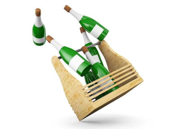 Rendu 3d de bouteille et de boîte de gémissement ou de champagne