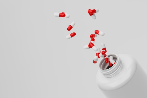 Rendu 3d bouteille ouverte et splash capsules pilules