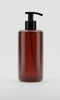 Rendu 3d bouteille en plastique transparent brun avec pompes à shampoing isolé on white