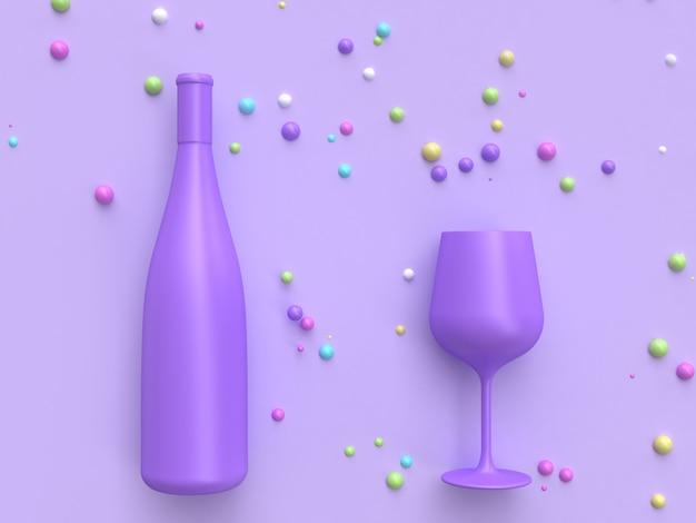 Rendu 3d bouteille de vin abstraite et verre coloré beaucoup boule