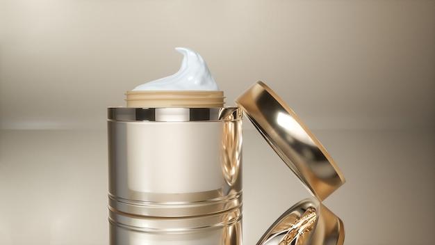 Rendu 3d de bouteilles d'or de crème cosmétique pour l'affichage du produit