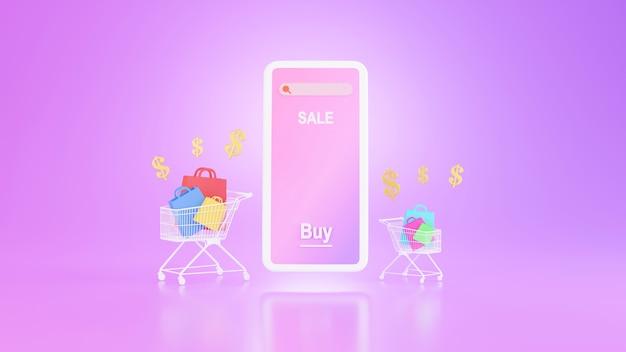 Rendu 3d de la boutique en ligne sur le concept d'application mobile