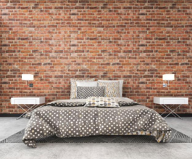 Rendu 3d brique loft vintage maquette chambre à coucher dans un style scandinave