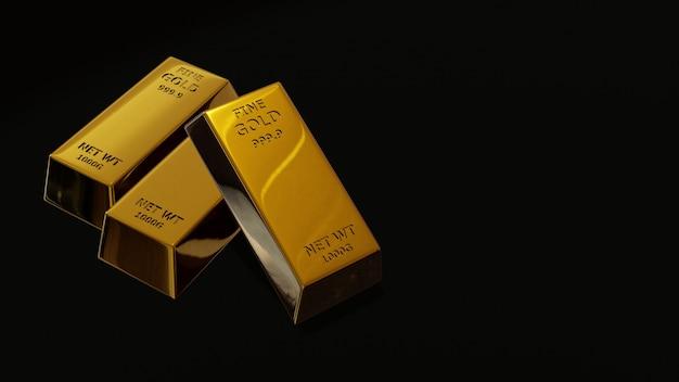 Rendu 3d de brique d'or barre d'or concept financier