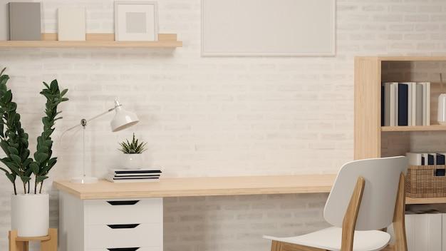 Rendu 3d, bureau à domicile avec table d'étude, étagère à livres, pot de fleurs, cadre, autres décorations et chaise, illustration 3d
