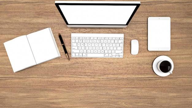 Rendu 3d de bureau avec équipement de table de travail, vue de dessus avec zone de copie