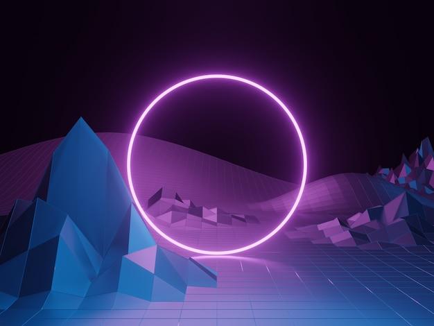 Rendu 3d. cadre de portail violet. fond filaire de terrain topographique.