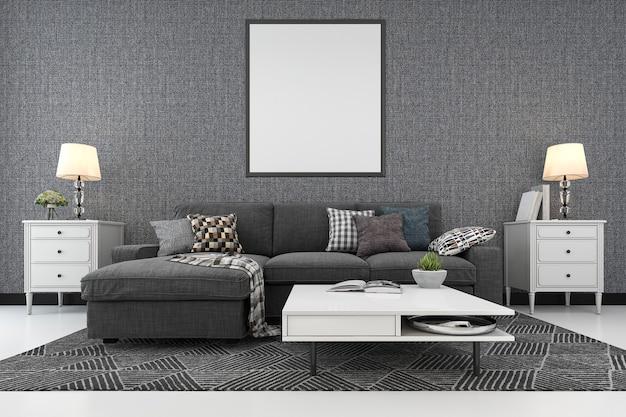 Rendu 3d cadre vierge dans le salon avec canapé