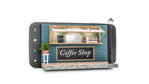 Rendu 3d café isolé sur smartphone sur fond blanc store sur concept mobile