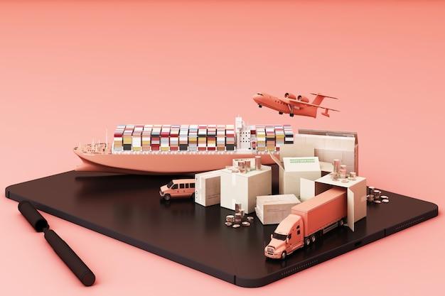 Rendu 3d de la caisse entourée de boîtes en carton, d'un porte-conteneurs, d'un plan de vol, d'une voiture, d'une camionnette et d'un camion