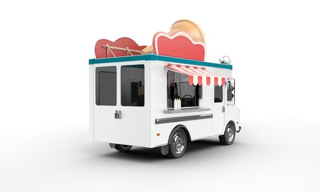 Rendu 3d d'une camionnette de crème glacée
