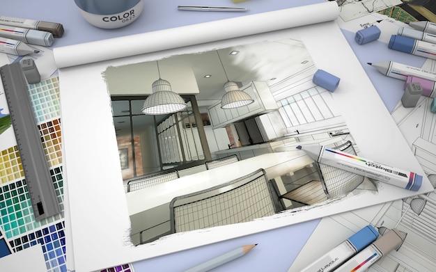 Rendu 3d d'un carnet de croquis avec un intérieur de cuisine moderne, des échantillons de couleurs et des marqueurs