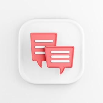 Rendu 3d carré icône blanche bouton touche ballons rouges isolés sur blanc.