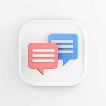 Rendu 3d carré icône blanche bouton touche bulles rouges et bleues isolés sur blanc.