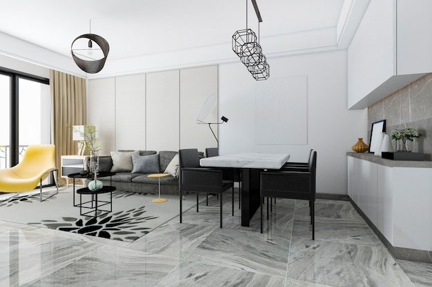 Rendu 3d carrelage moderne salon et salle à manger et cuisine