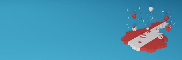Rendu 3d de la carte du drapeau de l'autriche pour célébrer la journée nationale du shopping et la fête de l'indépendance
