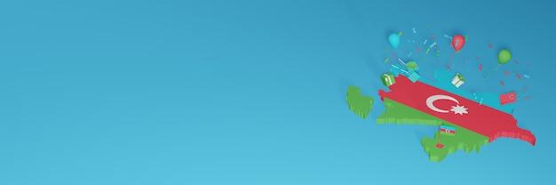 Rendu 3d de la carte du drapeau azerbaïdjanais pour célébrer la journée nationale du shopping et la fête de l'indépendance