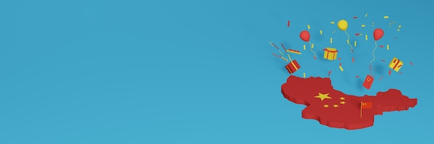 Rendu 3d de la carte du drapeau de la chine pour célébrer la journée nationale du shopping et la fête de l'indépendance