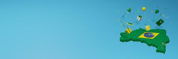 Rendu 3d de la carte du drapeau du brésil pour célébrer la journée nationale du shopping et la fête de l'indépendance
