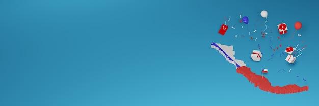 Rendu 3d de la carte du drapeau du chili pour célébrer la journée nationale du shopping et la fête de l'indépendance