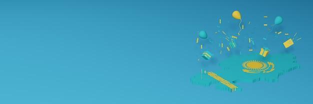 Rendu 3d de la carte du drapeau du kazakhstan pour célébrer la journée nationale du shopping et la fête de l'indépendance