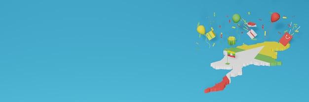 Rendu 3d de la carte du drapeau du myanmar pour célébrer la journée nationale du shopping et la fête de l'indépendance
