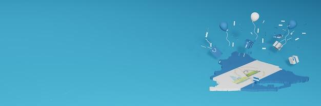 Rendu 3d de la carte du drapeau du nicaragua pour célébrer la journée nationale du shopping et la fête de l'indépendance