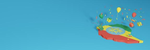 Rendu 3d de la carte du drapeau de l'éthiopie pour célébrer la journée nationale du shopping et la fête de l'indépendance