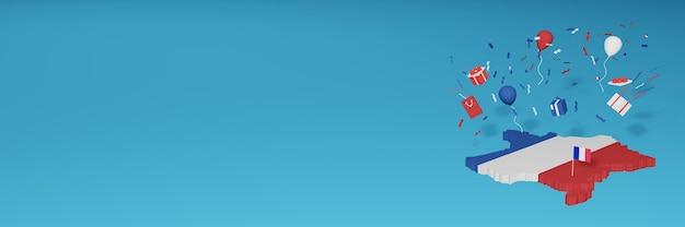 Rendu 3d de la carte du drapeau de la france pour célébrer la journée nationale du shopping et la fête de l'indépendance