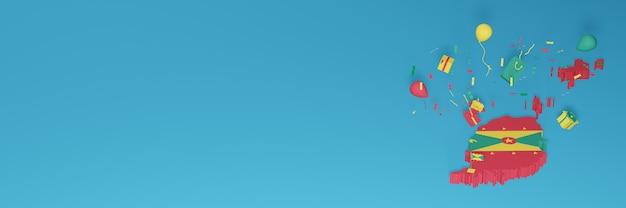 Rendu 3d de la carte du drapeau de la grenade pour célébrer la journée nationale du shopping et la fête de l'indépendance
