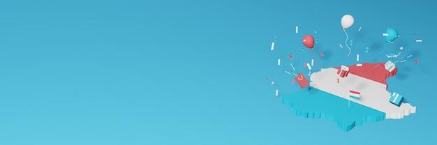 Rendu 3d de la carte du drapeau luxembourgeois pour célébrer la journée nationale du shopping et la fête de l'indépendance