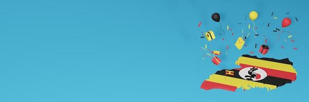 Rendu 3d de la carte du drapeau de l'ouganda pour célébrer la journée nationale du shopping et la fête de l'indépendance