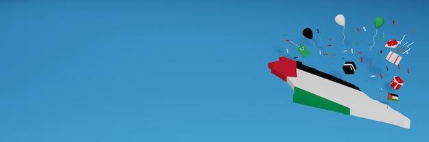 Rendu 3d de la carte du drapeau de la palestine pour célébrer la journée nationale du shopping et la fête de l'indépendance