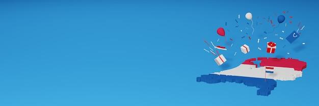 Rendu 3d de la carte du drapeau des pays-bas pour célébrer la journée nationale du shopping et la fête de l'indépendance