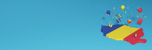 Rendu 3d de la carte du drapeau de la roumanie pour célébrer la journée nationale du shopping et la fête de l'indépendance