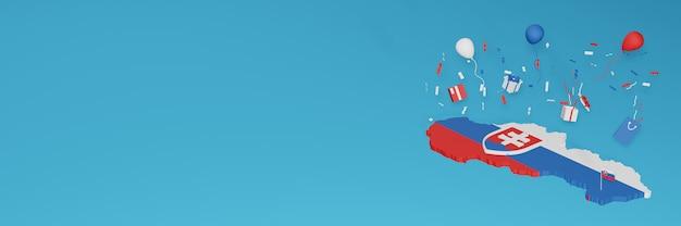 Rendu 3d de la carte du drapeau de la slovaquie pour célébrer la journée nationale du shopping et la fête de l'indépendance