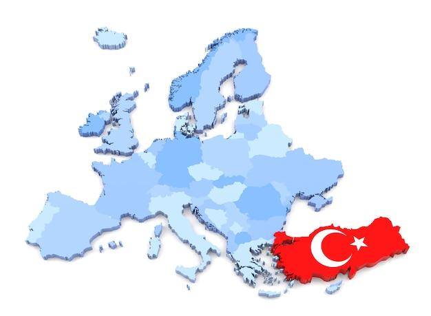 Rendu 3d de la carte de l'europe, turquie avec drapeau