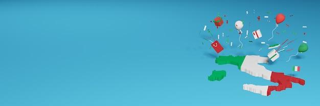 Rendu 3d de la carte de l'italie arabe pour célébrer la journée nationale du shopping et la fête de l'indépendance
