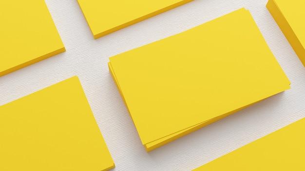 Rendu 3d de cartes de visite jaunes