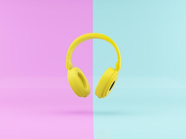 Le rendu 3d casque jaune sur fond abstrait différent corlor conceptminimalist