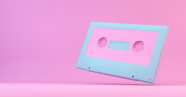 Rendu 3d de cassette rétro rose et bleu