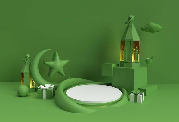 Rendu 3d célébration de l'aïd moubarak avec scène de scène de podium minimale pour la conception publicitaire de produits d'affichage.