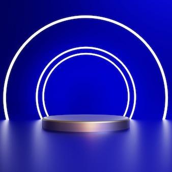 Rendu 3d cercle blanc avec piédestal argent sur fond bleu photo premium