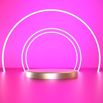 Rendu 3d cercle blanc avec piédestal argent sur fond rose photo premium