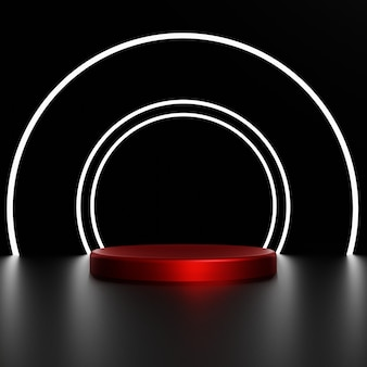 Rendu 3d cercle blanc avec piédestal rouge sur fond noir photo premium
