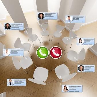 Rendu 3d d'un cercle de chaises avec des icônes de personnes se connectant pour une conférence téléphonique