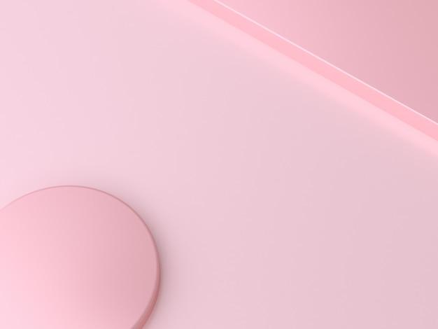Rendu 3d cercle coin abstrait minimal fond rose