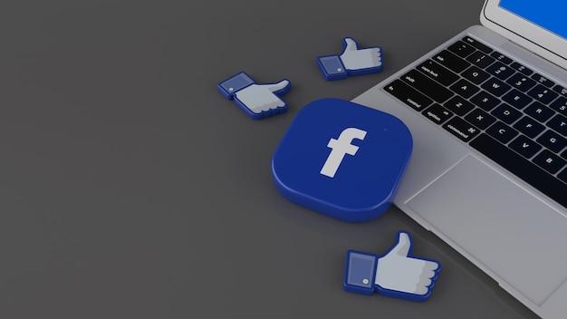 Rendu 3d de certaines icônes j'aime et d'un badge carré facebook sur un ordinateur portable sur fond gris
